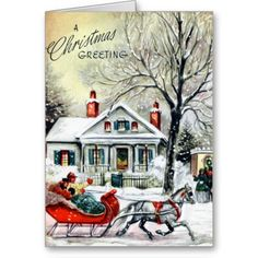 Christmas Greetings from a Sleigh Greeting Cards