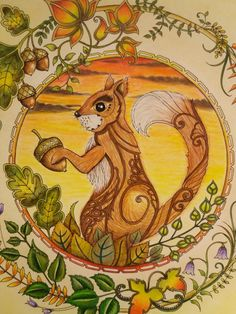 #Johanna Basford #coloring #enchanted forest #squirell