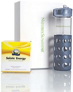 ENERGY ON THE GO GIFT SET  Give a box of Solstic® Energy and a branded NSP 20 fl. oz. glass bottle with grey protective silicone sleeve for no-slip grip. Dishwasher safe. Includes white NSP logo gift box. #HolidayGiftIdea