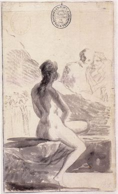 Francisco Goya - Young Woman Bathing at a Fountain 1793 - 96 Francisco Goya, Chef D Oeuvre, Oeuvre D'art, Sexy Drawings, Art Drawings, Goya Paintings, Model Sketch, Drawing Studies, Portrait Sketches