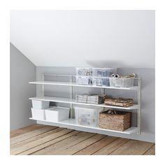 IKEA - ALGOT, Wandrail/planken, De onderdelen van de ALGOT serie kunnen op diverse manieren worden gecombineerd en zijn daardoor eenvoudig aan te passen aan de behoefte en de ruimte.De consoles, planken en acccessoires hoef je alleen maar op hun plaats te klikken. Daardoor is het heel eenvoudig om je opbergoplossing te monteren, aan te passen en te veranderen.Geschikt voor gebruik in het hele huis, zelfs in vochtige ruimtes zoals de badkamer of op overdekte balkons.