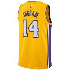 Nike Men's Brandon Ingram Los Angeles Lakers Icon Swingman Jersey ($110) ❤ liked on Polyvore featuring men's fashion, men's clothing, men's activewear, gold, mens jerseys, nike mens clothing, mens clothing and mens nba jerseys
