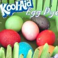 Several eggs colored by Kool-Aid
