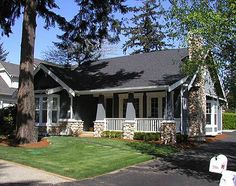 Craftsman Bungalow with Options Plan Cottage, Craftsman, Narrow Lot, Photo Gallery, Northwest House Plans & Home Designs Bungalow House Plans, Craftsman Style House Plans, House Floor Plans, Bungalow Homes, Craftsman Cottage, Craftsman Bungalows, Craftsman Homes, Craftsman Exterior, Craftsman Kitchen