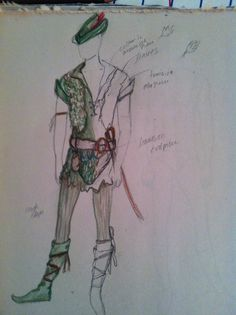 My sketch for adult Peter Pan costume