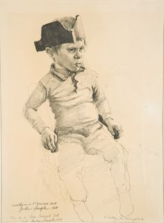 """""""Tim in a Three-Cornered Hat."""" Pencil on paper, 18 x 12 in. Graphic Artwork, Artwork, Male Sketch"""