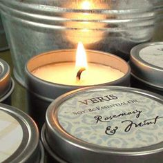 Wedding Favors Candle Tin Soy by Veris SAMPLE. via Etsy.