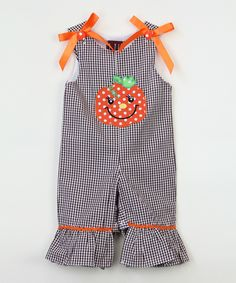 Loving this Black & Orange Pumpkin Bow Playsuit - Infant & Toddler on #zulily! #zulilyfinds