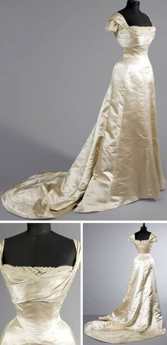 Ballgown, Worth, ca. 1900. Champagne-colored Duchesse satin with tulle and mechanical lace. Butterfly sleeves, boned bodice.