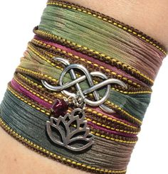 Infinity Silk Wrap Bracelet Yoga Jewelry Lotus New Beginnings Namaste Eternity Love Unique Gift For Her Mothers Day Under 50 Item A36, $29.95