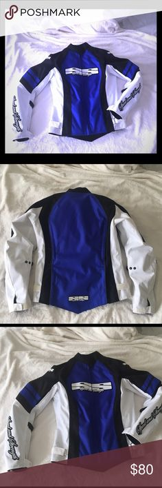 Speed & Strength Motorcycle Jacket Beautiful in excellent condition Speed & Strength motorcycle jacket. Colors: white, black & blue. Liner inside with all protective pads in place. Only worn once! In excellent condition. Size: XS. Selling it because it no longer fits comfortably since I started lifting weights. Such a beautiful, must have jacket!! ❤️ Speed & Strength Jackets & Coats