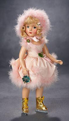 """Lot: Gorgeous """"Babs"""" Skater in Pink Satin and Marabou Ensemble, 1949 Old Dolls, Antique Dolls, Vintage Dolls, Child Doll, Baby Dolls, Vintage Madame Alexander Dolls, Vinyl Dolls, Costume, Childhood Toys"""