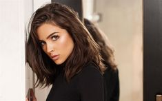 Download wallpapers Olivia Culpo, American actress, portrait, black dress, photo shoot, fashion model