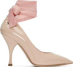 Miu Miu Beige Grommet and Ribbon Heels. Patent calfskin heels in cipria beige. Pointed toe. Logo engraved eyelet at outer heel.#trend #lifestyle #highheels #awesomeshoes #women #fashionforwomen #trednsetter #luxury #party #partyshoes