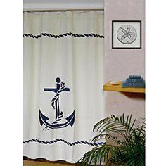 Superieur Nautical Anchor Linen Blend Shower Curtain   Overstock.com Shopping   The  Best Deals On Shower Curtains