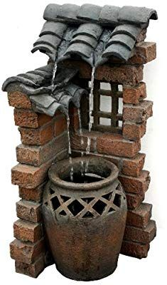 Beckett Corporation 7227110 Spanish Tiles Outdoor Fountain, Patio, Lawn and Garden Diy Water Fountain, Garden Water Fountains, Fountain Garden, Water Garden, Lawn And Garden, Garden Art, Spanish Tile, Ceramic Houses, Fairy Doors