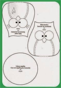 Fun felt crafts ideas including: birds, owl and cat templates. Owl Patterns, Applique Patterns, Sewing Patterns, Sewing Toys, Sewing Crafts, Sewing Projects, Owl Sewing, Owl Templates, Applique Templates