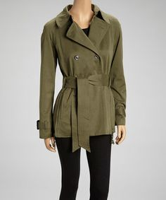 Take a look at this Olive Belted Raincoat by G.E.T. on #zulily today!
