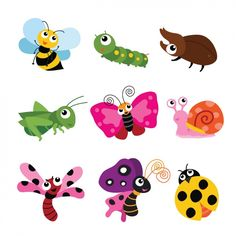 Colección de insectos a color Vector Gratis