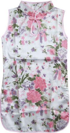 Girls Dress White Flower Silk Cheongsam Chinese Children Clothing Size 12M-8 New