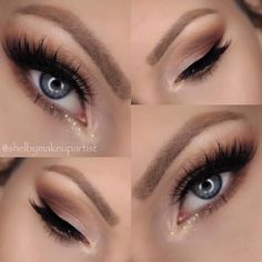 brown smokey eye for the day and a little pop of that gold glitter.