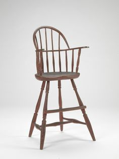 RISD Museum: Unknown artist, American, Rhode Island; Connecticut. Child's Windsor High Chair, 1770-1800. Oak, maple, chestnut, ash and hickory. 86.4 x 48.3 x 40.6 cm (34 x 19 x 16 inches). Gift of Mrs. Gustav Radeke 20.965