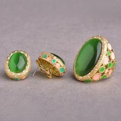 Blucome Big Green Opals Jewelry Sets Women Gold Color Wide Ring Earrings Set Royal Style Wedding