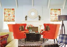 4 Wingback chairs, circle arrangement - love that orange