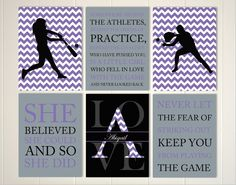 Girls inspirational art, softball, girls softball wall art, pre teen girl gift idea, choose your colors and sports, set of 6 prints by PicabooArtStudio on Etsy