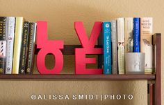 LOVE Wooden Bookends Shelf Decoration by TheCutAboveWoodshop
