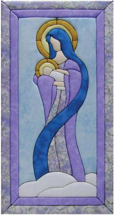 Quilt Magic Mary and Baby Jesus Quilt Kit Stained Glass Quilt, Faux Stained Glass, Crazy Quilting, Quilting Fabric, Quilt Kits, Quilt Blocks, Cross Quilt, Church Banners, Quilted Wall Hangings
