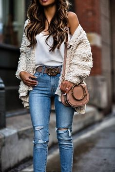 10 JAN, 2018 My Guide To Buying A Gucci Belt - Outfit Details: Gucci Belt Line & Dot White Cardigan CAMI NYC Tank Levi's Denim Cloverpost Medallion Necklace Chloé Nile Bag Christian Louboutin So Kate Heels 120mm Anouk Patent Leather Pumps