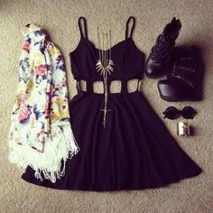 Cute outfit. Black cut-out dress, floral scarf, lace-up wedges and some accessories.