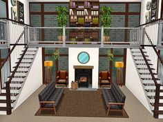 Sims 3 Houses Ideas, Sims 4 Houses Layout, House Layouts, Sims Ideas, Casas The Sims Freeplay, Sims Freeplay Houses, Sims 4 Modern House, Sims 4 House Design, Sims 4 House Building