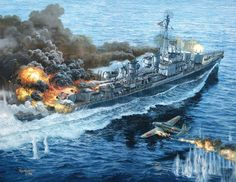 USS Laffey (DD-724)Tom W. Freeman's painting 'Trial by Fire depicts the April 1945 Japanese attack on the destroyer .