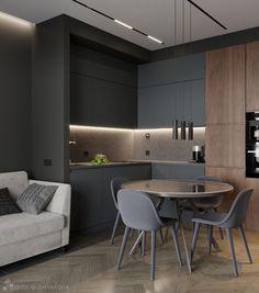 Luxury Kitchen Design, Kitchen Room Design, Home Room Design, Kitchen Cabinet Design, Home Decor Kitchen, Interior Design Kitchen, Kitchen Furniture, Small Apartment Interior, Flat Interior