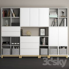 The combination of cabinets with legs Ikea Eket. The combination of cabinets with legs Ikea Eket. We used Ikea Besta…Modules eket, ikea – Diamar Pretelt MarrugoSchrank mit 4 Fächern EKET weiß – Mel Ina Ikea Living Room, Ikea Bedroom, Living Room Storage, Trofast Ikea, Kallax, Ikea Eket, Ikea Playroom, Ikea Office, Office Spaces