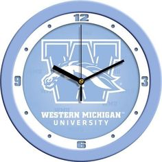 Western Michigan University Clock Baby Blue Glass Wall Clock