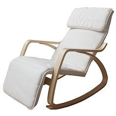 Natural Birch Recliner Rocking Chair. Contemporary Armchair for Sitting Room, Lounge or Conservatory. Ideal for Nursing or Relaxing. Bentwood Style Rocker. Fully UK Fire Retardant. Express Delivery from our UK Warehouse. NOTE: MAINLAND UK SHIPPING ONLY, Excludes NI (Cream)