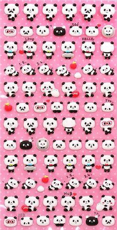 cute little panda bear sponge stickers from  Japan 2