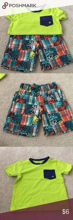 Gymboree outfit Shorts with matching green and blue shirt Gymboree Matching Sets