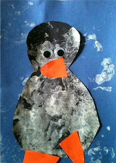 use a toy penguin to paint a penguin... fun idea that you could alter in any number of ways. I'm thinking paint a car using cars.