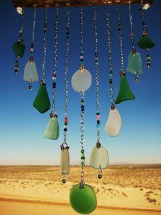 Silver Chain Tiered Greens Sea Glass Windchime.  via Etsy.
