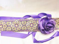 Sash Wedding Embroidered Belt Cummerbund Violet floral brooch Prom Party  #SAHBELTCUMMERBUND