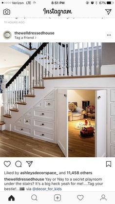 Stairs for kitchen and use room under for food storage or entrance to safe room/basement diy Dream house Cat House Plans Dream Home Design, My Dream Home, Home Interior Design, Dream House Interior, Beautiful Houses Interior, Dog Rooms, House Rooms, Dog Play Room, Family Rooms