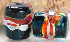 Handmade glass lampwork beads, made to order, barrel tube, deep ink blue red hot pink fuschia orange gold silver