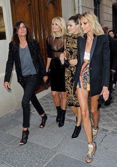 Fashion power players. Emanuelle Alt, Natasha Poly, Isabeli Fontana, Anja Rubik. Dressed impeccably well.