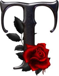 Abecedario gótico adornado con rosas. Letra T mayúscula.