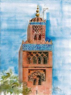 diuzet - architectures: Maroc 2013 Islamic Art Pattern, Pattern Art, Art Marocain, Watercolor City, Black Art Painting, Moroccan Art, Decoupage Furniture, Urban Sketching, Islamic Pictures