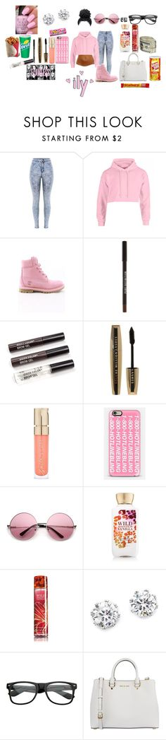 """*Pretty in Pink*"" by beautyonfleek ❤ liked on Polyvore featuring Timberland, New Look, L'Oréal Paris, Smith & Cult, Casetify, Nicki Minaj, Kenneth Jay Lane, Retrò and MICHAEL Michael Kors"
